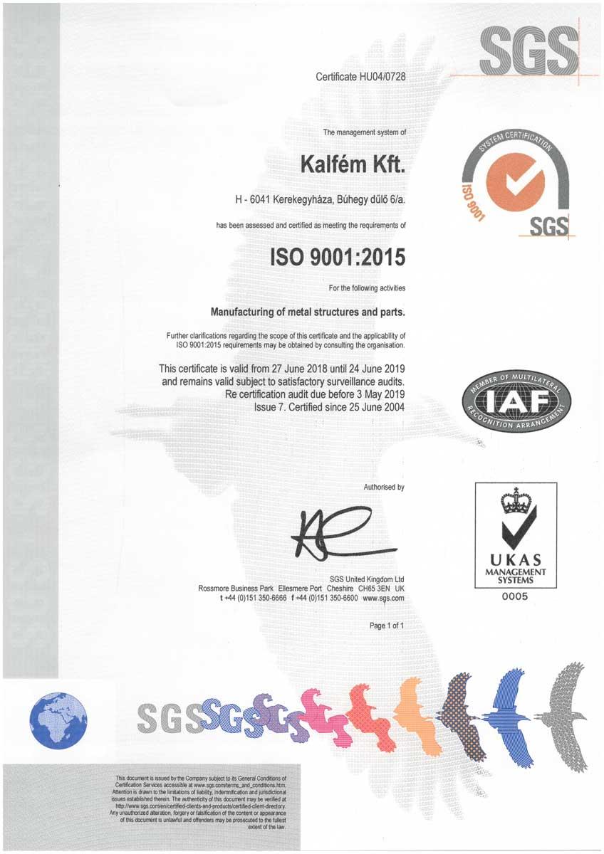 Kalfém Kft. ISO 9001 tanusitvány - Angol