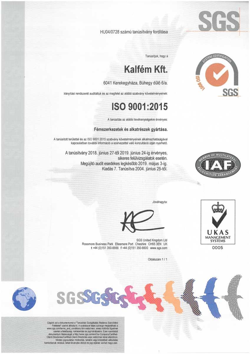 Kalfém Kft. ISO 9001 tanusitvány - Magyar