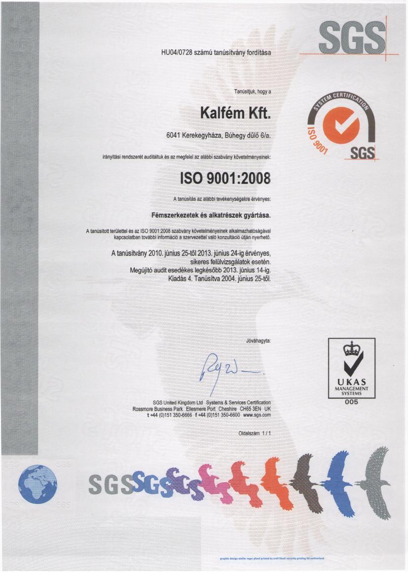 ISO tanusítvány 2013 - Magyar - Kalfém Kft.